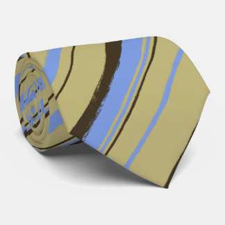 Painterly Striped Khaki, Brown & Peri Two-Sided Tie