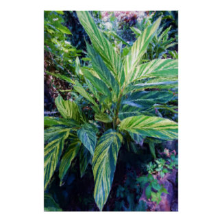 Painterly Striped Leaves Corn Plant Poster