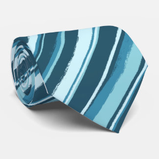 Painterly Striped Teal Single Sided Tie