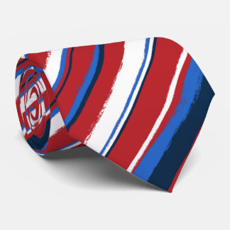 Painterly Striped Two-sided Printed Tie