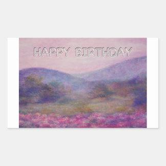 painterly summer nocturne birthday rectangle sticker