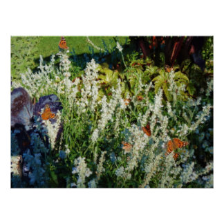 Painterly Watercolor Butterfly Garden 36x27  Inch Poster