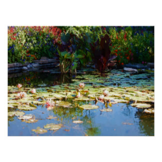 Painterly Watercolor Waterlily Garden 36x27 Inch Poster