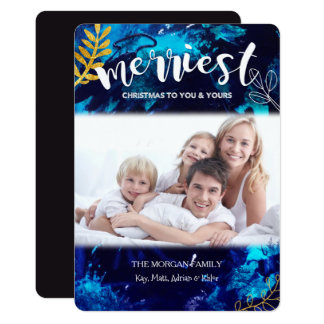 Painterly Winter Blue Holiday Photo Card