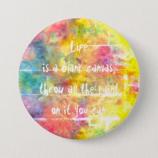[Painter's Cloth]  Distressed Rainbow Tie-Dye 7.5 Cm Round Badge