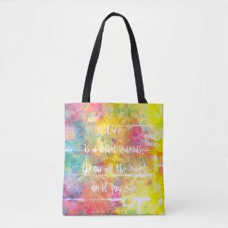 [Painter's Cloth]  Distressed Rainbow Tie-Dye Tote Bag