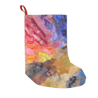 painter's colorful  artist palette small christmas stocking