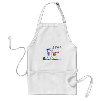 "Painters Gifts  ""I Paint"" Stick People Design Standard Apron"