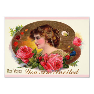 Painter's Palette And Roses 13 Cm X 18 Cm Invitation Card