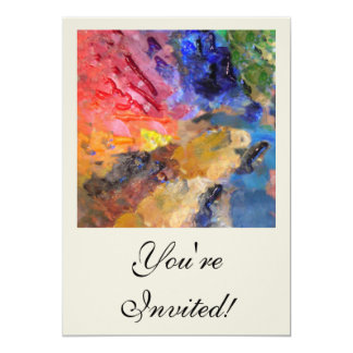 Painter's Palette of Colorful Paints 13 Cm X 18 Cm Invitation Card