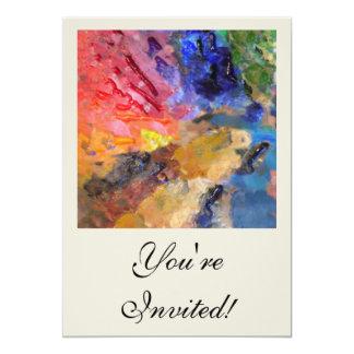 Painter's Palette of Colorful Paints Card