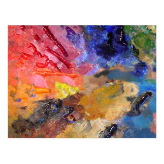 Painter's Palette of Colourful Paints Postcard