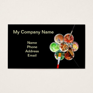 Painter's palette with multiple colors and brushes business card