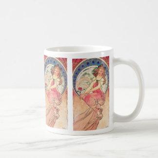 """Painting"" by Alphonse Mucha, 1898 Basic White Mug"