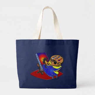 Painting by the notes large tote bag