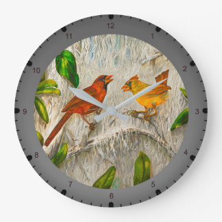 Painting Cardinal birds Large Clock