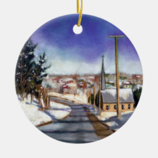 Painting: Church In Snow: Religious Christmas Round Ceramic Decoration