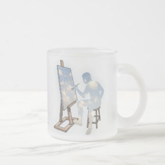 Painting Clouds Frosted Glass Mug