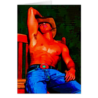 Painting: Cowboy On Bench Card