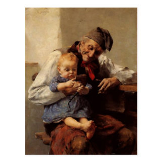 Painting Grandfather and child vintage Postcard