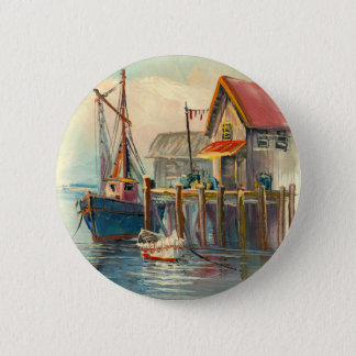 Painting Of A Boat Tied To A Wharf 6 Cm Round Badge