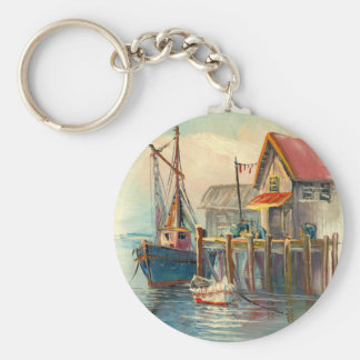 Painting Of A Boat Tied To A Wharf Key Ring
