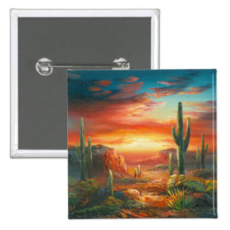 Painting Of A Colorful Desert Sunset Painting 15 Cm Square Badge