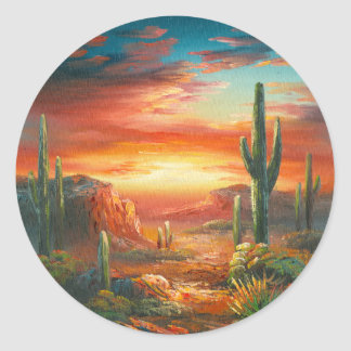 Painting Of A Colorful Desert Sunset Painting Classic Round Sticker
