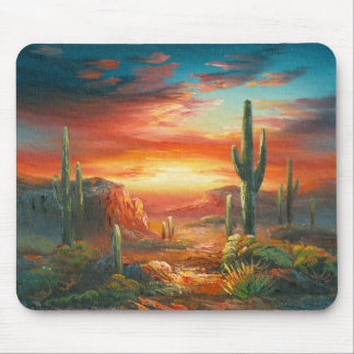 Painting Of A Colorful Desert Sunset Painting Mouse Pad