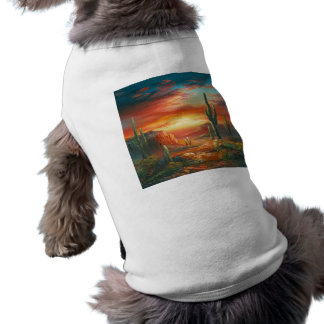 Painting Of A Colorful Desert Sunset Painting Sleeveless Dog Shirt