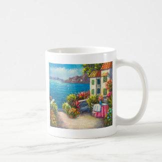 Painting Of A European Seaside Patio Coffee Mug