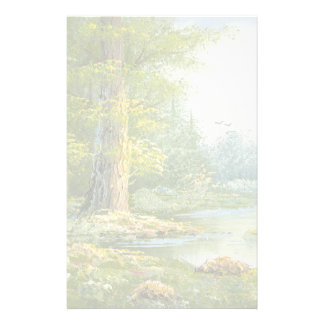 Painting Of A Forest With River Stationery