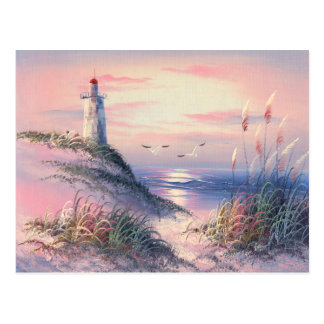 Painting Of A Lighthouse At Dawn Postcard