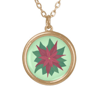 Painting of a Poinsettia Flower Christmas Necklace