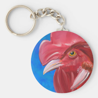 Painting of a Red Rooster in Vibrant Colors Keychains