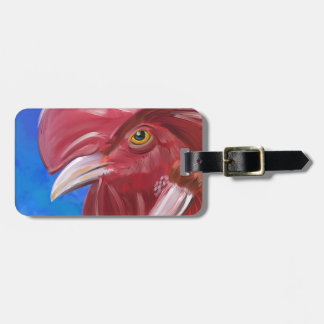 Painting of a Red Rooster in Vibrant Colors Luggage Tag