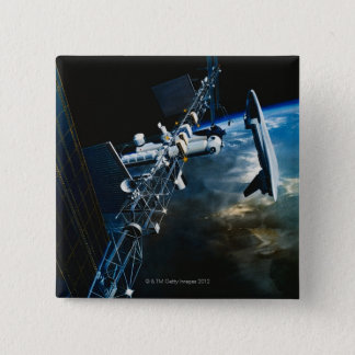 Painting of a Space Station Above Earth 15 Cm Square Badge