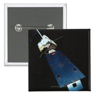 Painting of a Weather Satellite 15 Cm Square Badge