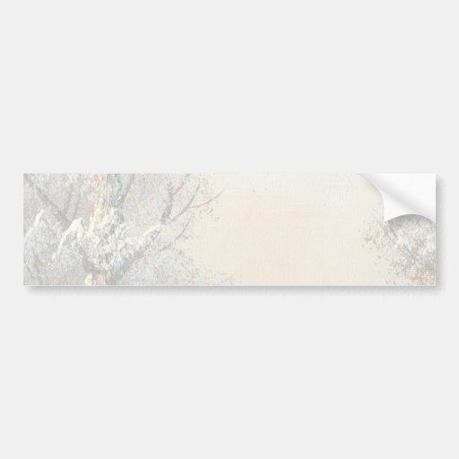 Painting Of A Winter Forest And River Bumper Stickers