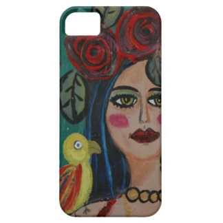 PAINTING OF A WOMAN WITH SMALL PARROT. iPhone 5 COVER