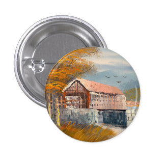 Painting Of An Old Pennsylvania Covered Bridge Pinback Button