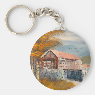 Painting Of An Old Pennsylvania Covered Bridge Key Ring