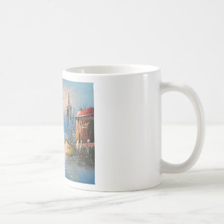 Painting Of Boats Tied To A Marina Coffee Mug
