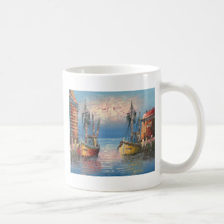 Painting Of Boats Tied To A Marina Coffee Mugs