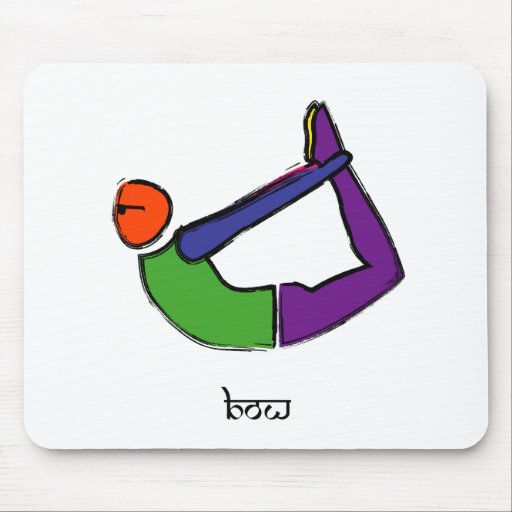 Painting of bow yoga pose with Sanskrit text. Mousepads