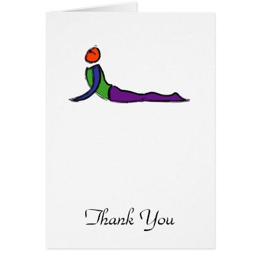 Painting of cobra yoga pose. greeting card