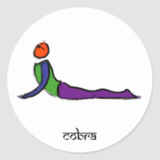 Painting of cobra yoga pose with Sanskrit text. Round Sticker