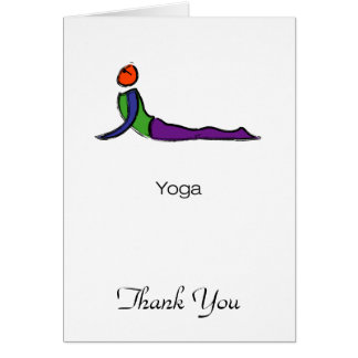 Painting of cobra yoga pose with yoga text. card