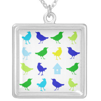 Painting of Colored Birds by Chariklia Zarris Personalized Necklace