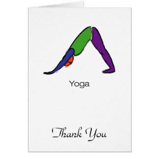 Painting of downward dog yoga pose with yoga text. card